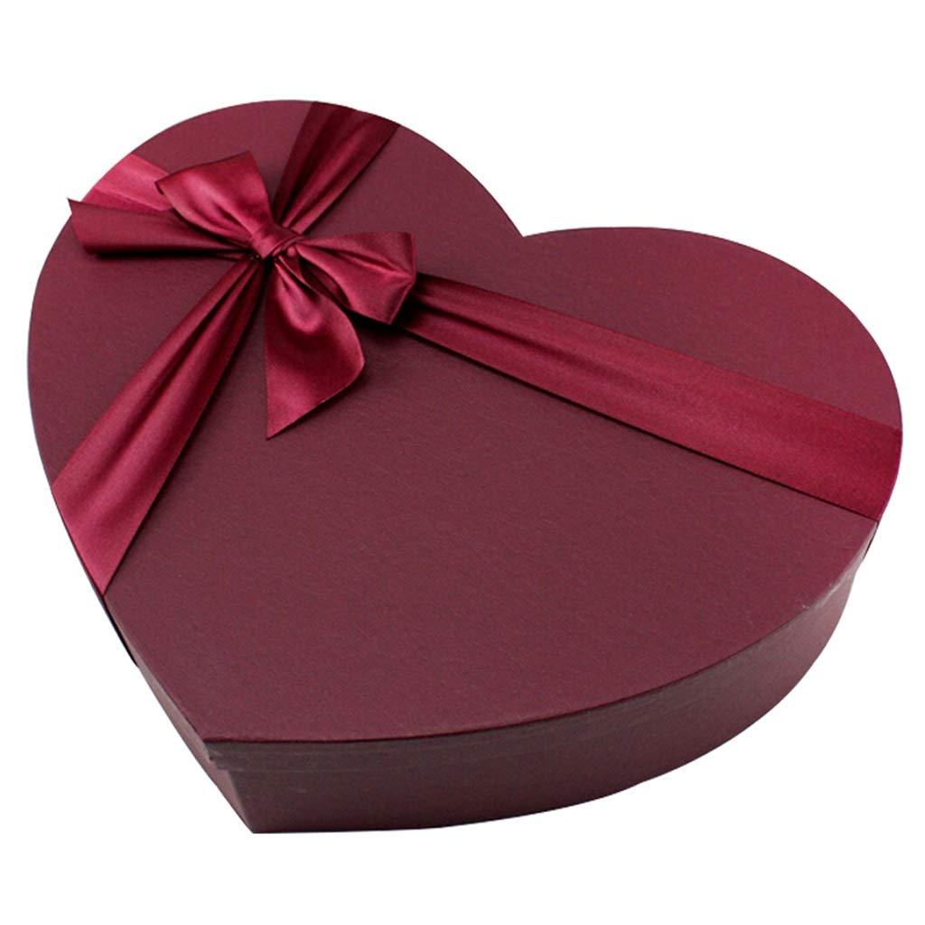Confezione regalo a forma di cuore Confezione di stoffa e scatola di caramelle a forma di fiore Adatto per la festa di compleanno di anniversario (dimensioni : S(30×20×7cm)) WXiaJ-Pacco regalo
