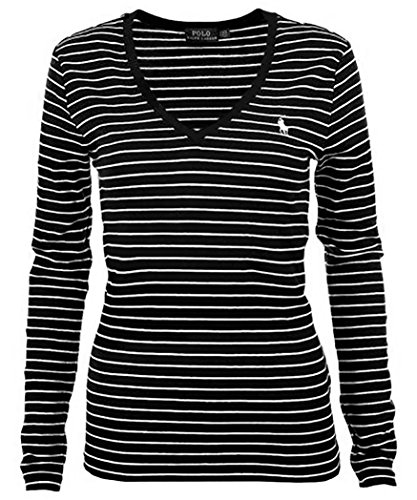 RALPH LAUREN Polo Women's Long Sleeve Striped V-Neck T-Shirt (X-Large, Black/White ()