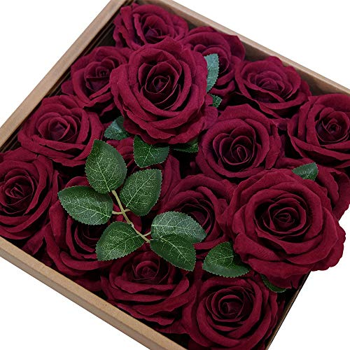 ETERNAL ANGEL Artificial Flowers Roses Real Looking Dark Red Fake Roses Silk Velvet Flowers with Stem for DIY Wedding Bouquets Centerpieces Bridal Shower Arrangements Party Home Decorations 16pcs