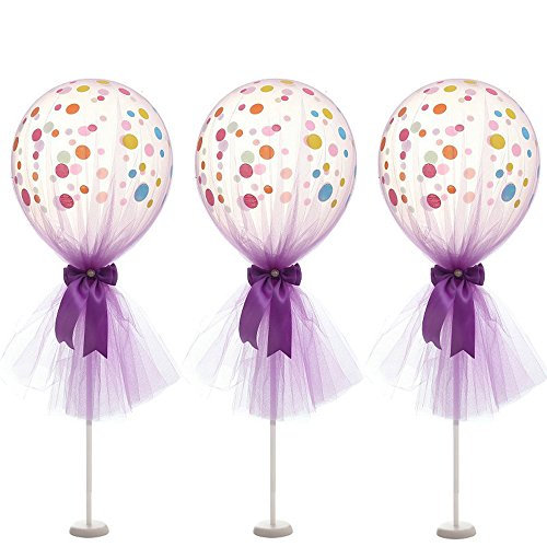 Globos de Tul de 30,48 cm, de látex, con base de columna para decoración de bodas, fiestas de bebé, cumpleaños, 6 unidades