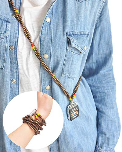 Rasta Necklace Two Way Bands Smartwatch 42mm of Series 3 2 1 / 44mm of Series 4 New Watch Double Loop Bracelet Raggae Fashion Jewelry Strap Neckband Wearable Handmade Replacement Accessories Adaptor