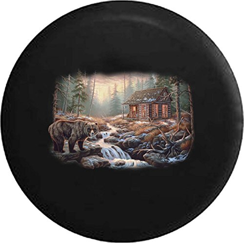 556 Gear Brown Bear Log Cabin Woods River Hunting Lodge Jeep RV Spare Tire Cover Black 33 in