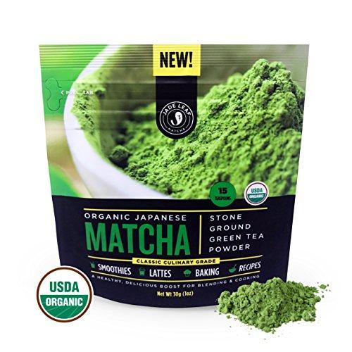 Matcha Green Tea Powder, Organic - Authentic Japanese Origin, Superior Quality, Classic Culinary Grade (Smoothies, Lattes, Baking, Recipes) - Antioxidants, Energy - Jade Leaf Brand [30g Starter Size]