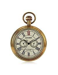 Steampunk Vintage Style Mens Hand Wind Mechanical Pocket Watch Pure Copper Case W/Chain reloj de bolsillo