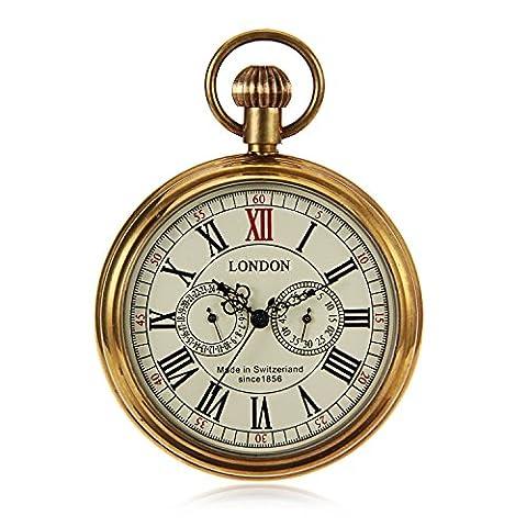Steampunk Vintage Style Mens Hand Wind Mechanical Pocket Watch Pure Copper Case W/Chain reloj de (Vintage Style Pocket Watch)