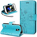 Galaxy S5 Case,NSSTAR Butterfly Flower Flip PU Leather Fold Wallet Pouch Case Premium Leather Wallet Flip Stand Credit Card ID Holders Case Cover for Samsung Galaxy S5 SV/Galaxy S V i9600,Blue