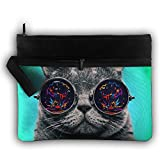Big Glasses Cat Lightweight Trip Toiletry Bag Travel Receive Bag Organiser Portable Double Zipper Storage Bag