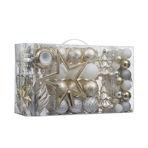 Valery Madelyn Palle di Natale 100 Pezzi di Palline di Natale, 3-5 cm Eleganti Ornamenti di Palle di Natale Infrangibili Bianchi e Dorati per la Decorazione Dell'Albero di Natale 1 spesavip