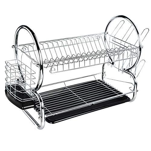 ADDMIRRE 2 Tier Easy Install Chrome Finished Modern Design Dish Drying Rack,White Draining Board