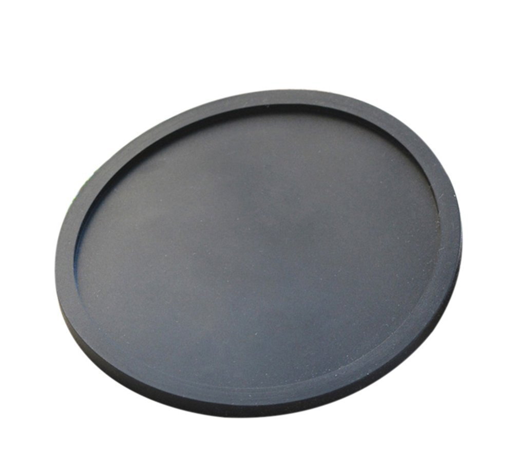 Hosaire Silicone Drink Coasters Great Grip, Easy To Clean, Protects Your Furniture - Spill Tray To Catch Condensation - For Coffee Cup, Wine Glass, Beer Bottle And All Other Beverages Black 4 inch
