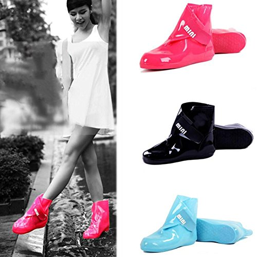 QQnvYUXUE Y&JAXIE Women slip non-slip rain cover/thick Velcro shoe cover/water shoes/short folding rain boots blue gbjhfD