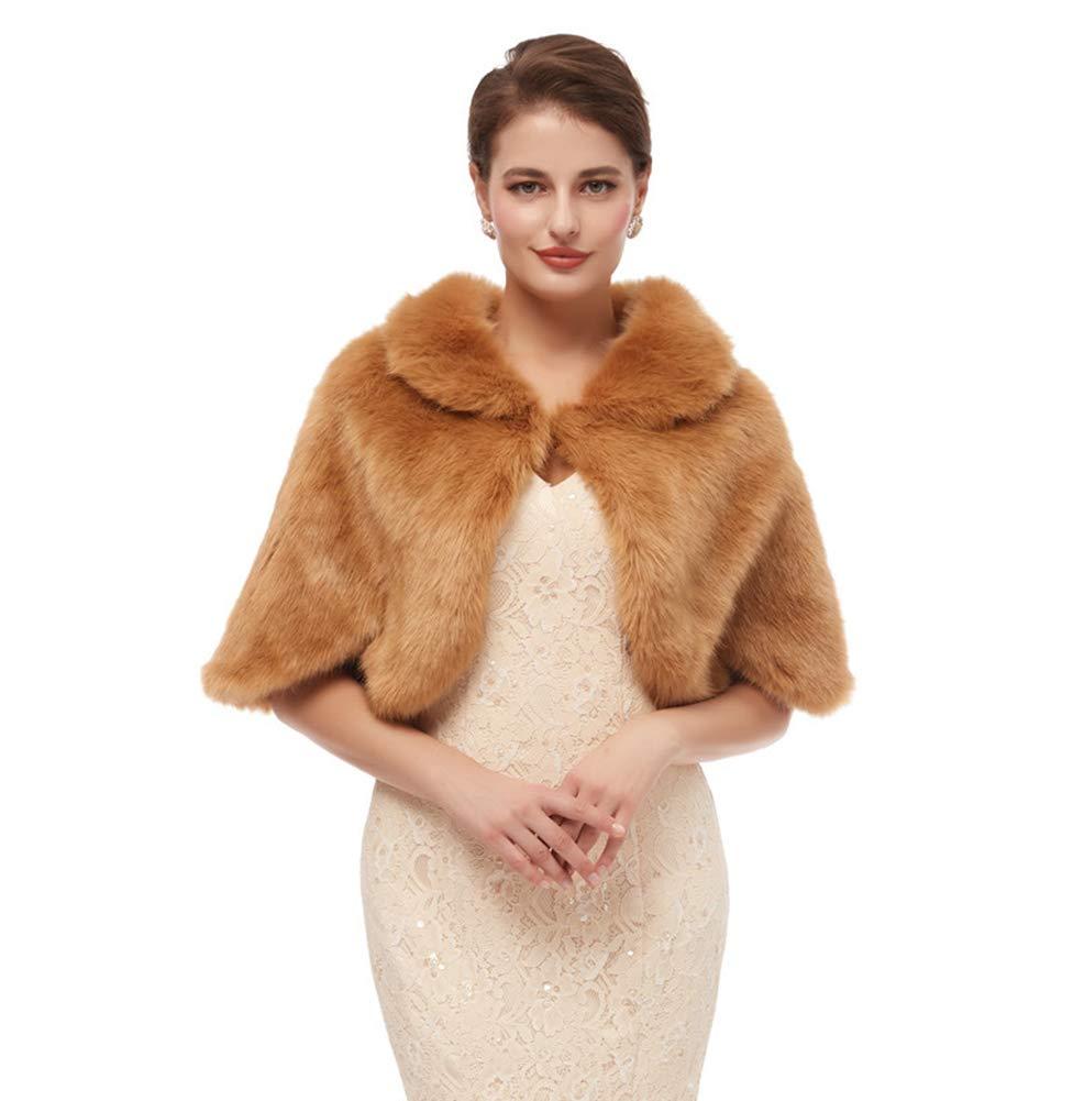 Ikerenwedding Womens Faux Fur Coat Shawl Shrug Wraps Stole For Evening Party
