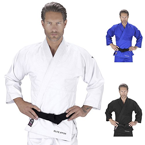 Elite Sports New Item Deluxe Adult IJF Judo Gi w/Preshrunk Fabric & Free Belt (White, 1)