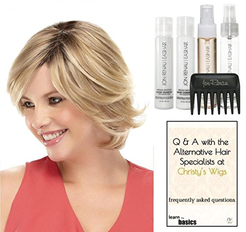 Jon Renau SOPHIA EXCLUSIVE Human Hair Wig, 15 Page Christy's Wigs Q & A Booklet, Luxury Shampoo & Conditioner, Heat Treat Thermal Spray, Smooth Treatment Mist & Comb - Color: 12FS8