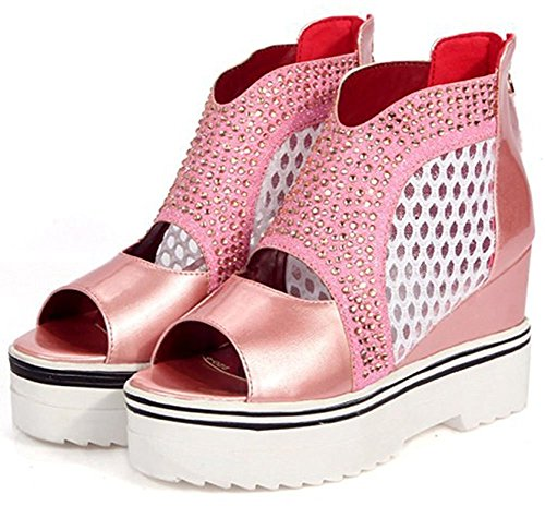 Colnsky Women's Sexy Rhinestone Peep Toe Mesh Ankle Boots with Zipper Platform Wedge Sandals Pink7 B(M) US New Style