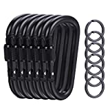 6 Pieces Upgraded Black Locking Carabiners, 3.1 Inch D-Ring Keychain Clips for Outdoor