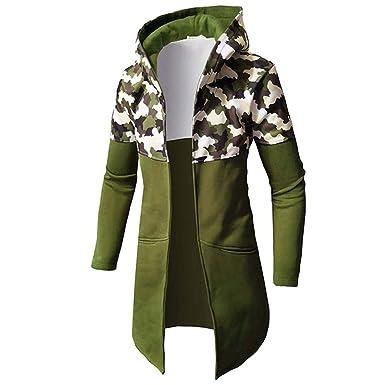 Hoodie Mantel Herren WWricotta Lange Jacke Camouflage Mantel Herbst Winter  Casual Warm Langarm Top Bluse Zip Sweater Trenchcoat Lange Strickjacke(,)   ... 93ce944c7f