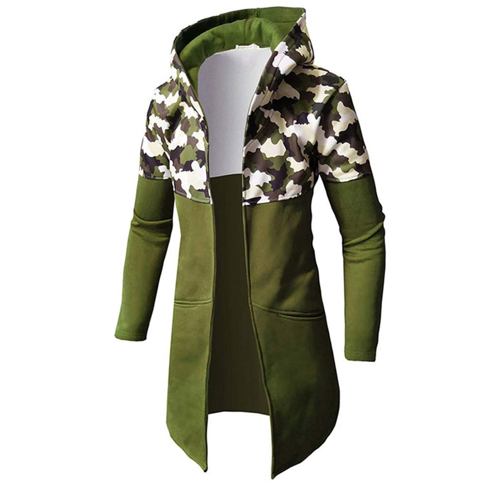 Forthery Clearance Men's Trench Coat with Hood Winter Camouflage Zipper Jacket Overcoat Cardigan (US Size L = Tag XL, Army Green)
