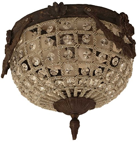 Egypt gift shops HANDMADE French Empire Ceiling Flush Mount Garland Bronze Finish Brass Crystal Lamp Light Ceiling Chandelier CRS111 Artisan Traditional Chandelier