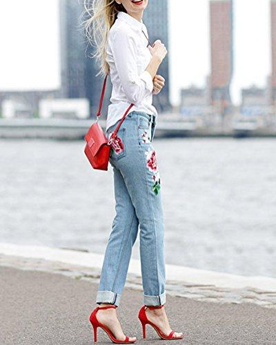 Tasche Jeans Dei Delle Stretch Stampato Ricamo Diritti Denim Modello Donne Pantaloni Blu Saideng gnqUWpxS