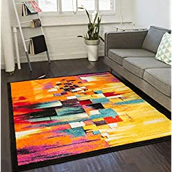 "Champlain Multi Cubes Yellow Orange Blue Modern Abstract Painting Area Rug 5 x 7 ( 5'3"" x 7'3"" ) Easy Clean Stain Resistant Shed Free Contemporary Art Boxes Square Geometric Line Stripe Thick Plush"