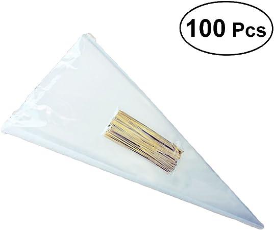 """100 /""""clair/"""" qualité cône de cellophane sweetparti sacs cadeauvioloncelle faveur"""