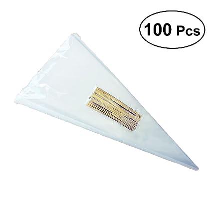 BESTONZON 100PCS Bolsas transparentes para el cono Bolsas transparentes para violonchelo Bolsas para dulces con tiritas doradas (13 x 25 cm)