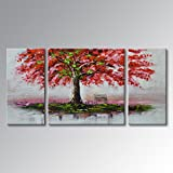 "Everfun Art Hand Painted Oil Painting Palette Knife Tree Large Canvas Wall Art Outside Landscape Decoration Picture Hanging 64""W x 32""H"