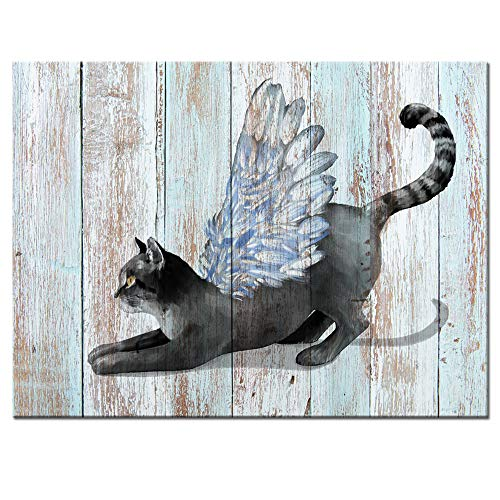 Visual Art Decor Animals Painting Printed on Canvas Cat with Angel Wings Pet Lovers Picture Retro Wooden Textured Backgournd Framed and Stretched Poster for Home Wall Decoration (01 Cat, 16