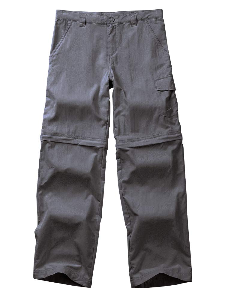 Kids Boy's Outdoor Quick Dry Convertible Pants, Hiking Camping Fishing Zip Off Trousers #9011-Dark Grey, M
