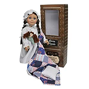 The Queen's Treasures Officially Licensed Little House on the Prairie Laura Ingalls 18 Inch Doll. Includes Quilt/Pillow, Rag Doll, Nightgown, Cap and a Log Cabin Keepsake Box. Fits American Girl Doll.