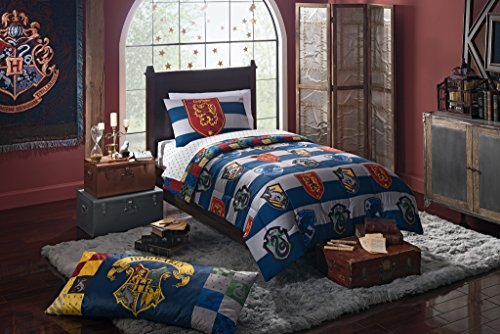 4 Piece Kids Blue White Multi Harry Potter Rugby Pride Comforter with Sheets Twin Set, Magical Hogwarts House Theme, Bold Stripes Pattern Background, Extra Soft & Comfy Reversible Bedding, Polyester (Sheets Harry Potter)