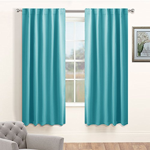 Room Darkening Curtains Window Treatments - PONY DANCE Home Decoration Back Tab / Rod Pocket Blackout Curtain Panels Privacy Protect for Living Room, 42