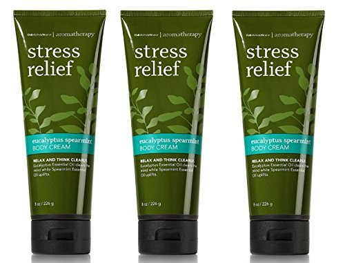 (Bath and Body Works Aromatherapy Stress Relief Eucalyptus Spearmint Body Cream 8 Ounce Lot Of 3 Original Packaging)