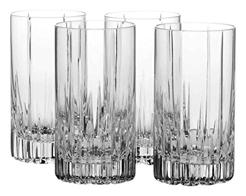 Mikasa Arctic Lights Crystal Highball Glass, 12.5-Ounce, Set of - Four Highball Glasses
