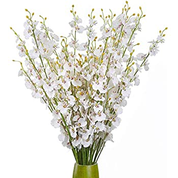 ULUK Artificial Orchids Flowers,12 Pcs Silk Fake Orchid Flowers in Bulk Flowers Artificial Real Touch Vase Arrangements for Indoor Outdoor Wedding Home Office Decoration (White)