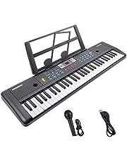 Elektroniskt pianotangentbord, Renfox 61 tangent barnbärbart digitalt pianotangentbord med musikstativ, strömkontakt och mikrofon, pedagogisk leksak för barn, julklappar för flickor pojkar