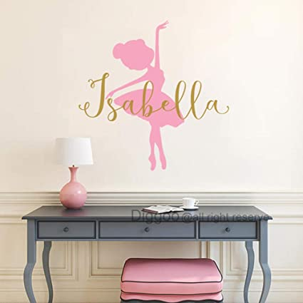 Ballerina Wall Decal Baby Girl Nursery Decor Girls Name Decal Ballet Dance  Vinyl Decals Sticker Girls Bedroom Decor 42\