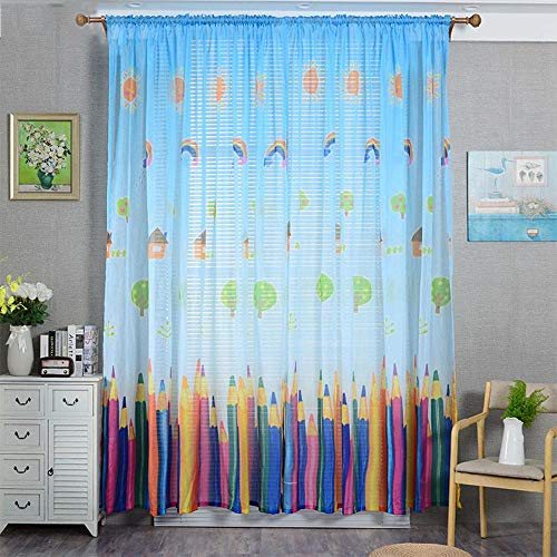 AiFish Rod Pocket Kids Sheer Curtains Cartoon Paradise Colorful Pencils House Tree Home Fashion Window Curtains Voile Gauze Tulle Panel...