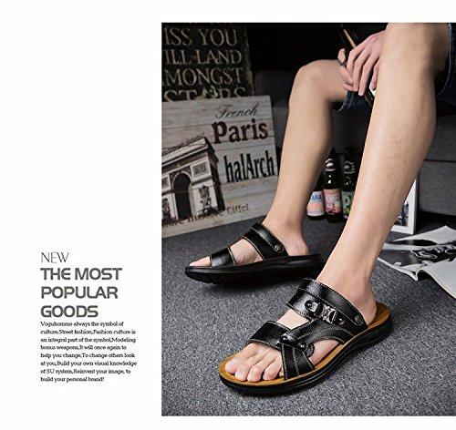 Sommer Das neue Echtleder Männer Sandalen Freizeit Schuh Männer Rutschfest Sandalen Strand Schuh Trend ,schwarz,US=6.5,UK=6,EU=39 1/3,CN=39
