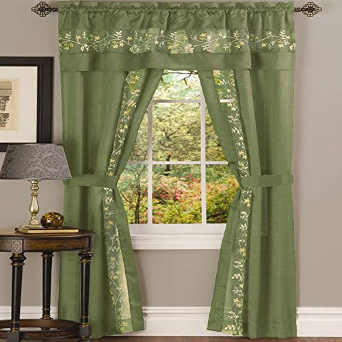Ben & Jonah PrimeHome Collection Fairfield 5 Piece Window Curtain Set-55x84-Sage, Sage