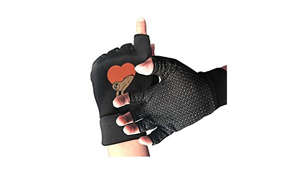 d75f270248879 Amazon.com : LINGDANMIAO Men's Women's Sloth in Heart Fingerless Gloves  Athletic Glove Black One Size : Baby