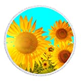 NIDITW Unique Gift Rustic Countryside Vivid Sunflower Enjoy Summer Holiday Time Microfiber Soft Large Round Roundie Beach Towel Throw Blanket Picnic Tapestry Table Cloth Cover 60x60 Inches