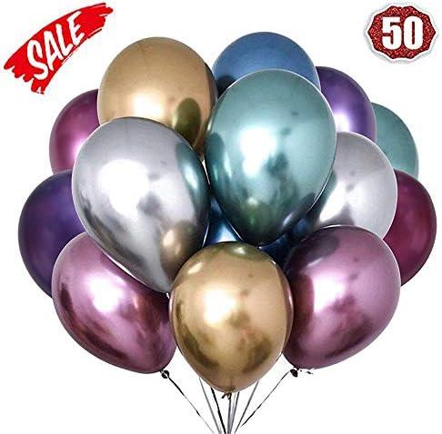 LAKIND Globos metálicos brillantes para cumpleaños, bodas, baby shower y decoraciones navideñas Paquete de 50: Amazon.es: Juguetes y juegos