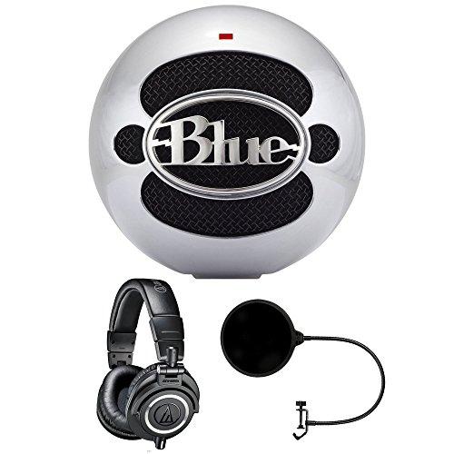 Blue Microphones Snowball USB Microphone - Aluminum (SNOWBALLALUMINUM) with Audio Technica ATH-M50x Studio Headphones & Pop Filter by Beach Camera