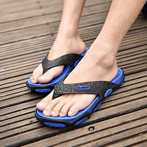 KESEELY Summer Men's Open Toe Slippers Fashion Beach Shoes Massage Bathroom Round Head Flip Flops Beach Casual Slippers Blue by KESEELY (Image #3)