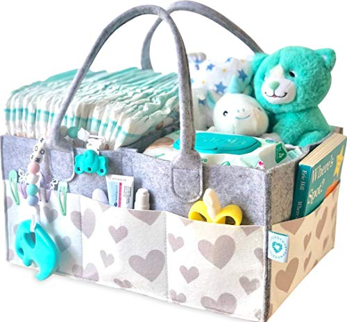 Baby Diaper Caddy Organizer - Portable Nursery Storage Bin for Diapers, Baby Wipes, Toys | Newborn Essentials | Baby Registry, Shower Gift Basket | Foldable Infant Tote Bag for Car -