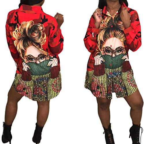 Women's Floral Stripe Print T-Shirt Dress - Button Down Long Sleeve Collar Loose Blouse Tops Mini Dress Red-1 S]()