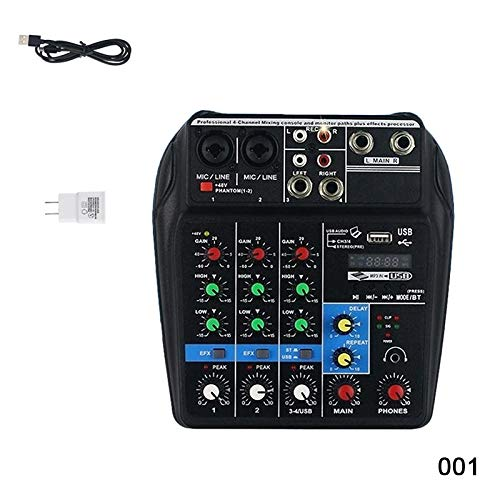 baskciry Mini USB Audio Mixer Amplifier Amp Bluetooth Board 48V Phantom Power 4 Channels for DJ Karaoke