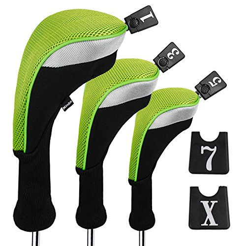 Andux 3pcs/Set Golf 460cc Driver Wood Head Covers Long Neck Interchangeable No. Tags Pack of 3 (Long Neck, Green, (Wood Club Head)
